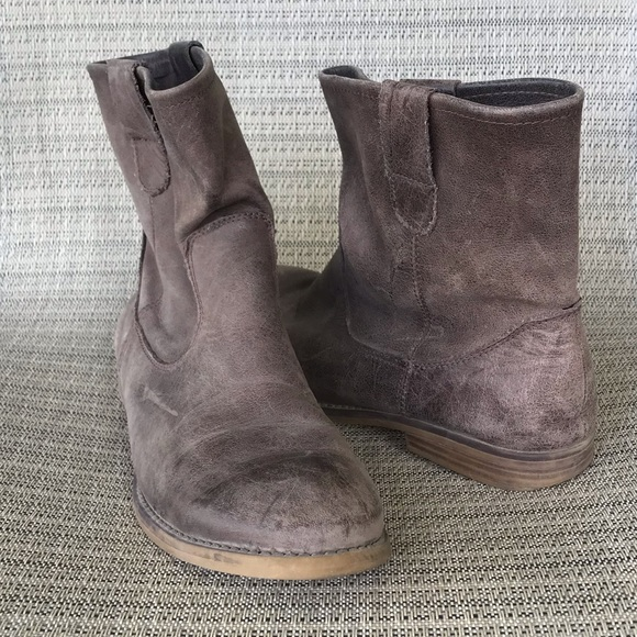 Crown Vintage Brown Taupe Leather Ankle Bootie 7
